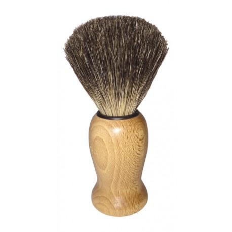 Blaireau en bois de hêtre ciré et poils de blaireau.