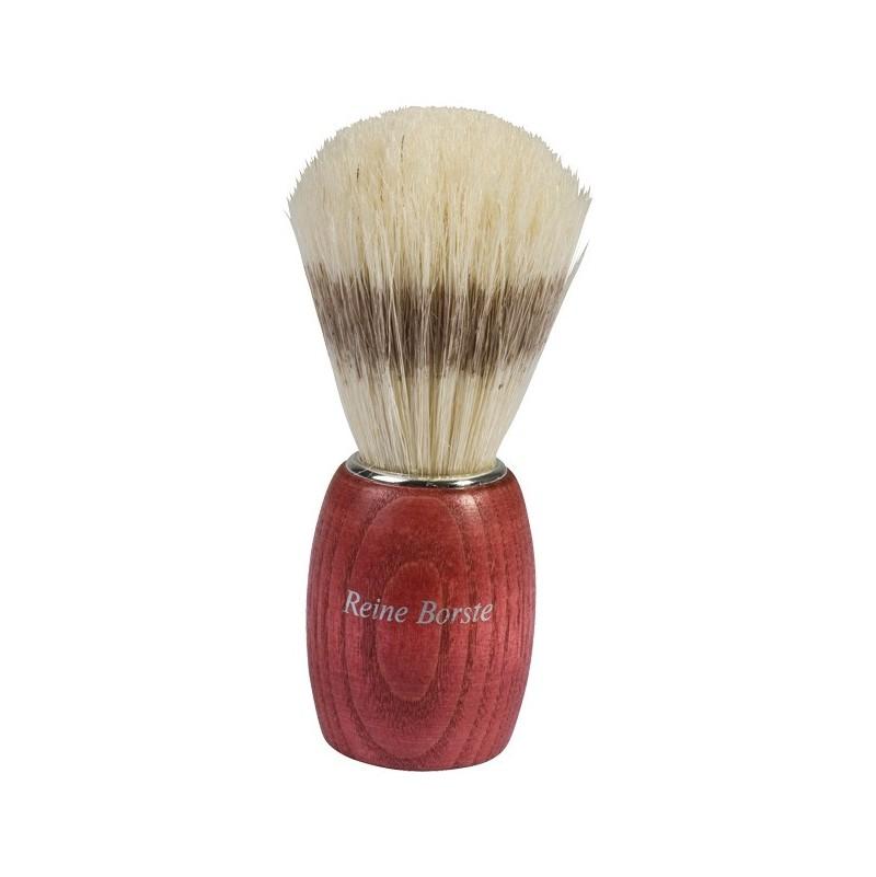 Blaireau en bois de hêtre teint en rouge, soies, 9.5cm